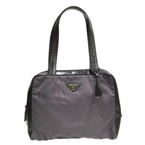 Prada gray nylon leather vintage tote bag